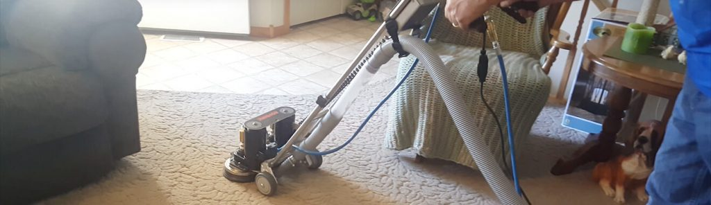 Rotovac technician cleaning carpet